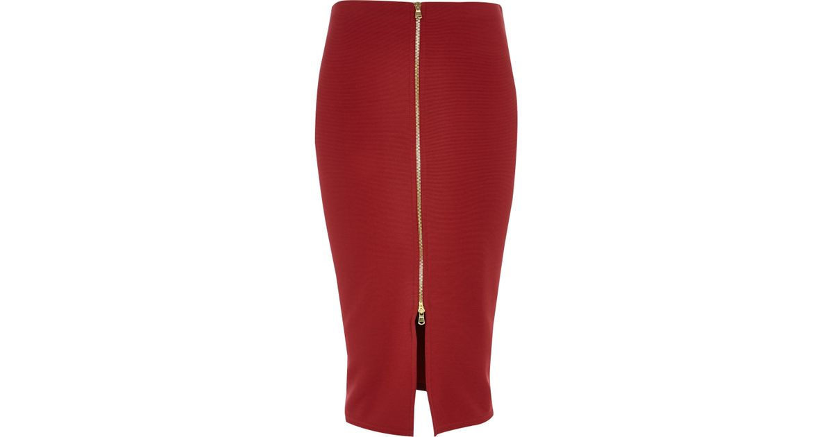 6eaf346566 River Island Red Zip Front Pencil Skirt in Red - Lyst