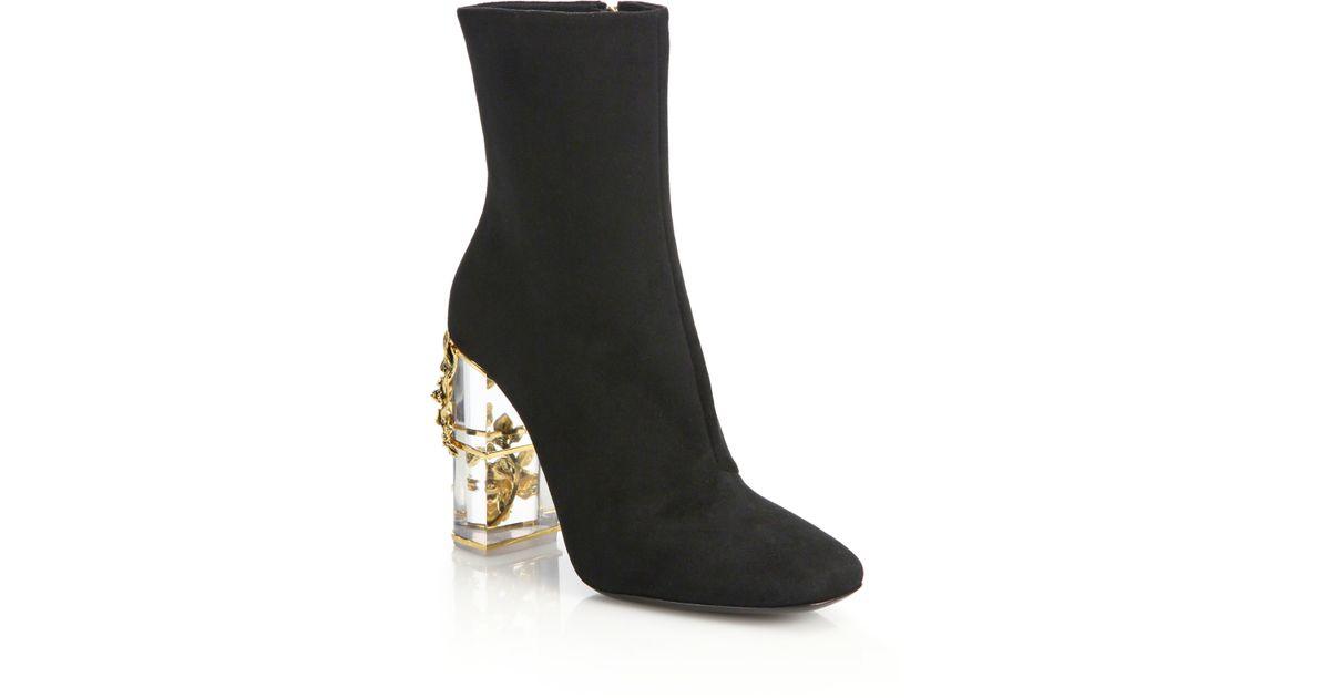 e149c27781f Lyst - Roberto Cavalli Suede   Embellished Lucite-heel Booties in Black