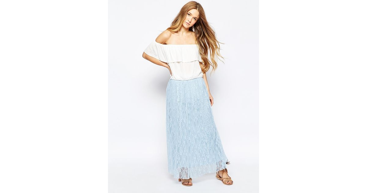 vero moda glitter thread pleated maxi skirt in blue