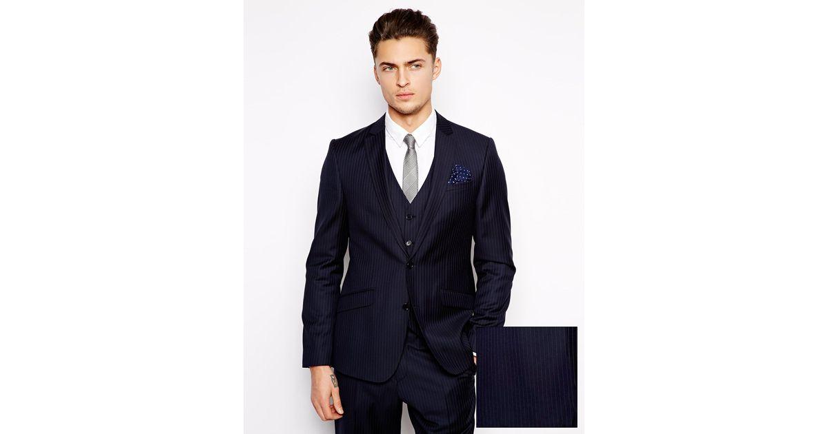 Asos Slim Fit Suit Jacket In 100% Wool in Blue for Men | Lyst