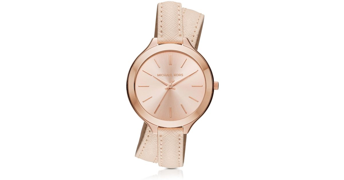 61f0df6ba6b8 Michael Kors Slim Runway Watch Rose Gold Leather - HD Image Flower ...