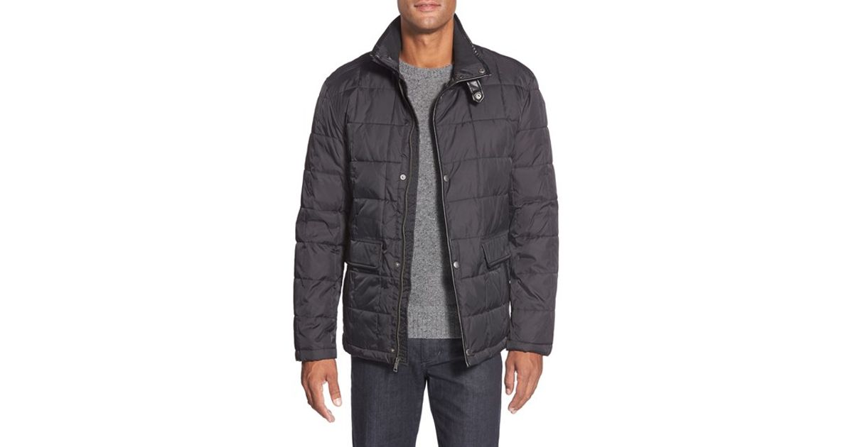 Cole Haan Leather Trim Quilted Jacket In Black For Men Lyst
