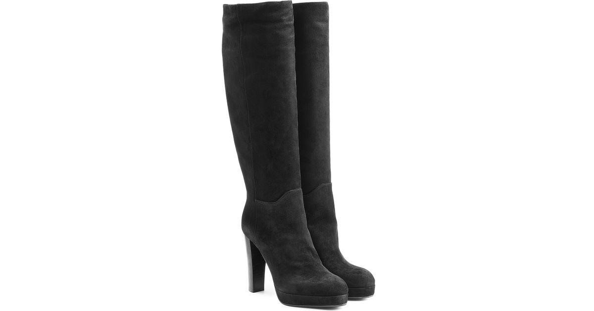 sergio suede knee boots black in black save 50