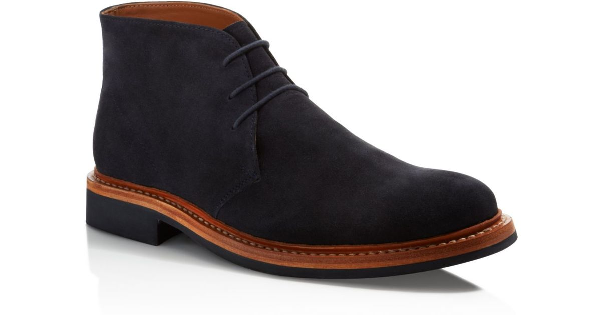 hardy amies suede chukka boots in blue for lyst