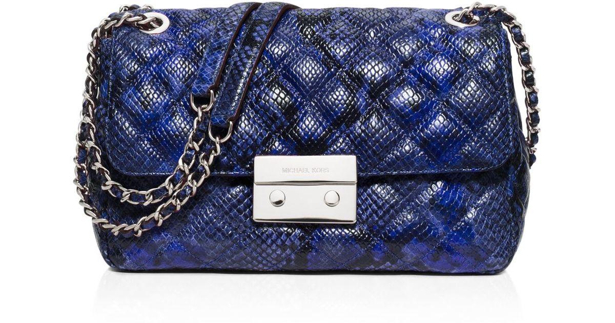 74c5a3fb0042 MICHAEL Michael Kors Large Sloan Quilted Embossed Python Shoulder Bag in  Blue - Lyst