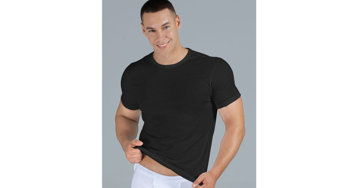 Black Fit 3 Lyst Body Slim Calvin In T Shirt Men For Klein Pack 66qwaCx4