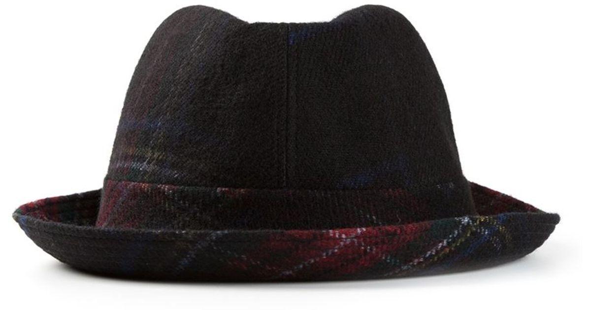 71b886dd80f26 Lyst - Comme Des Garçons Tartan Pattern Trilby Hat in Black for Men