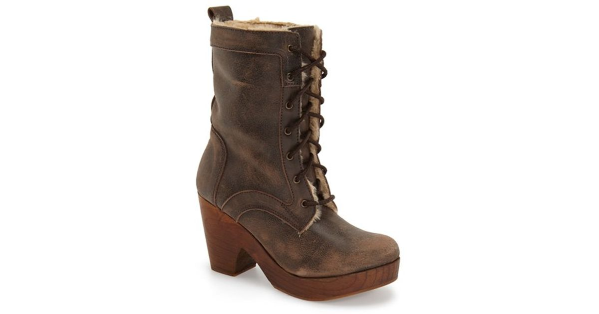 freebird by steven fiona platform clog boot in brown