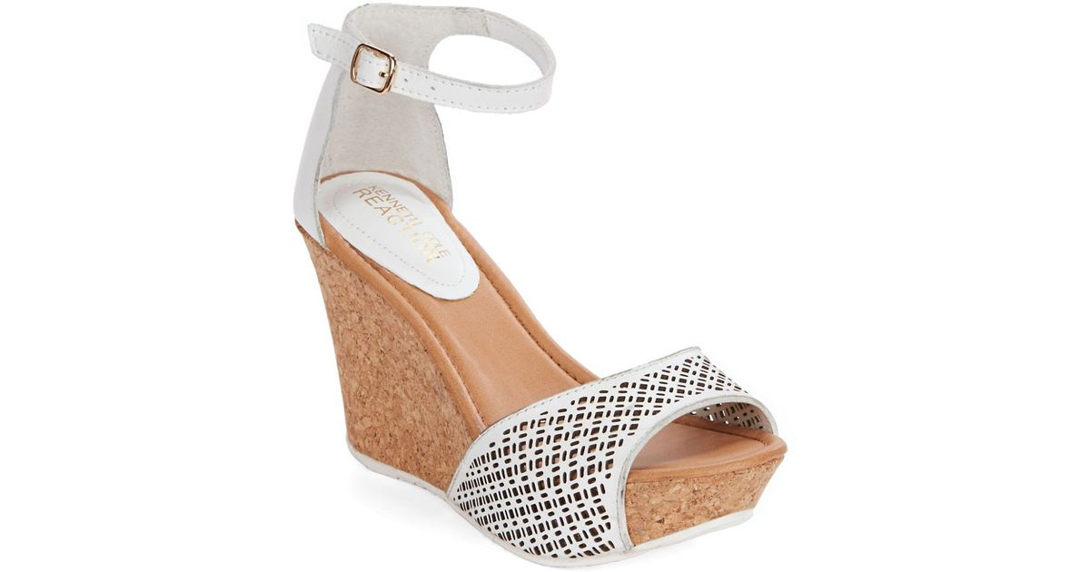 73565015412 Lyst - Kenneth Cole Reaction Sole Ness Stacked Wedge Sandals in White