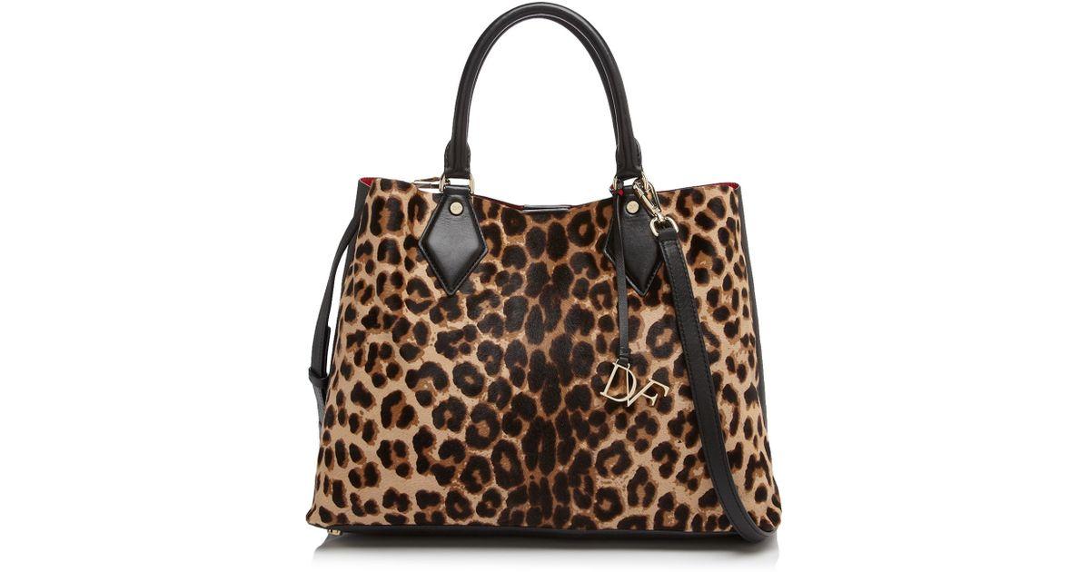 c25e38296dbf ... clutch purse; diane von furstenberg large voyage on the go leopard calf  hair satchel lyst ...