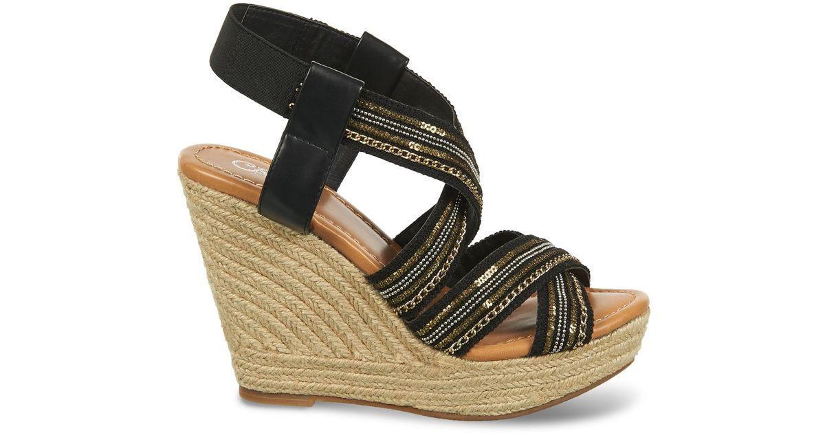 df7fddd8d361af Lyst - Carlos By Carlos Santana Corelle Sequin Espadrille Platform Wedge  Sandals in Black