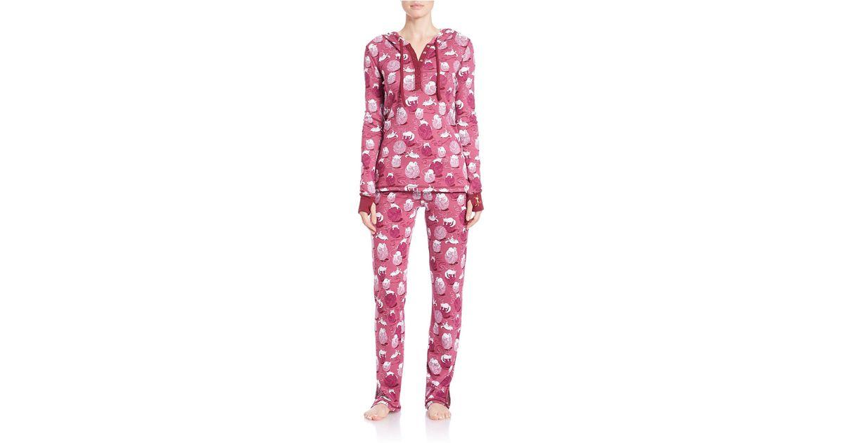 Lyst - Munki Munki Hooded Pajama Set in Purple 8508df529