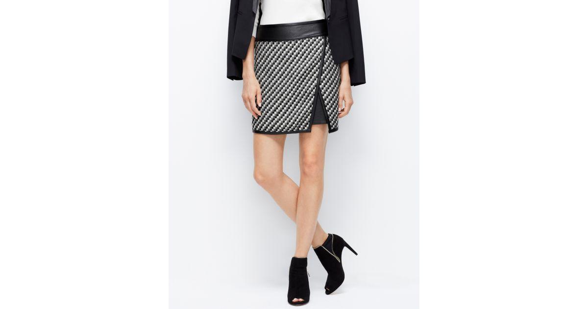 Ann taylor Petite Faux Leather Trim Tweed Skirt in Black | Lyst