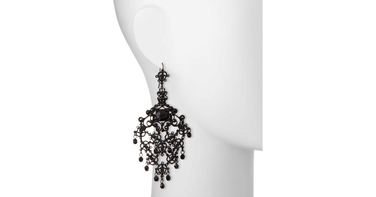Lyst Jose Maria Barrera Gunmetal Filigree Crystal Chandelier Earrings In Metallic