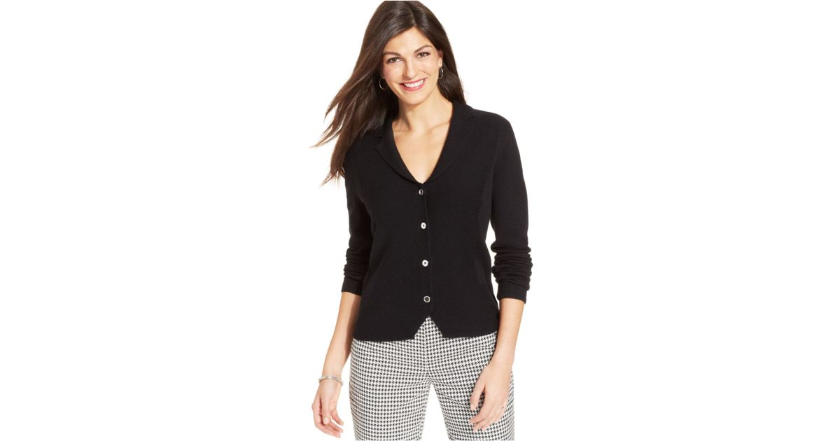 1de7dbd0aa7 Lyst - Jones New York Petite Button-Front Wool Cardigan in Black