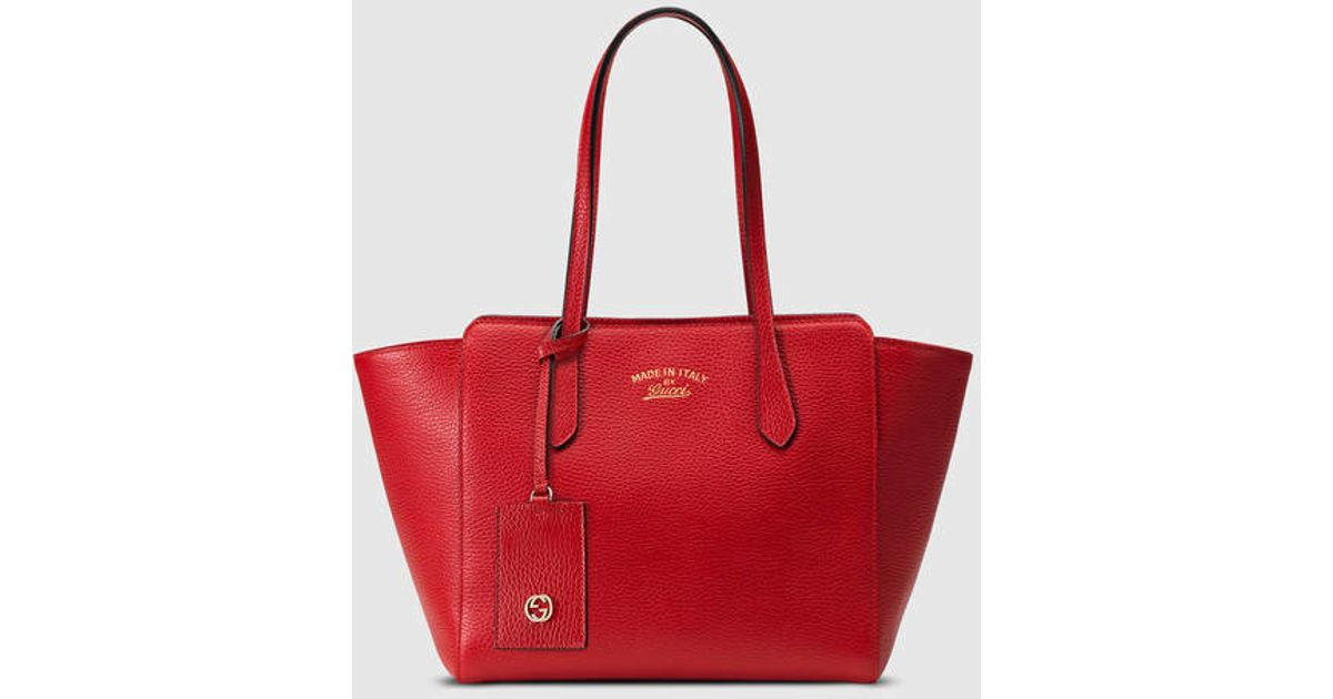 618c9a5d43f2f Lyst - Gucci Swing Small Leather Tote in Red