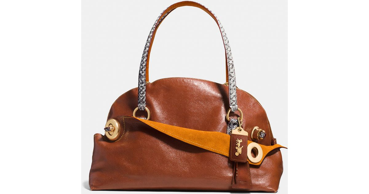 e728ea11b43 Lyst - COACH Outlaw Satchel 42 In Colorblock Python in Brown