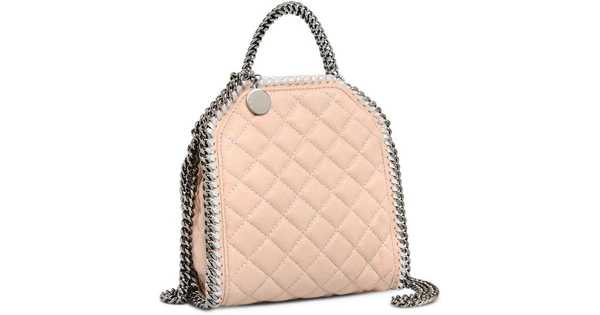 db353f009f Lyst - Stella McCartney Powder Falabella Quilted Shaggy Deer Tiny Tote Bag  in Natural