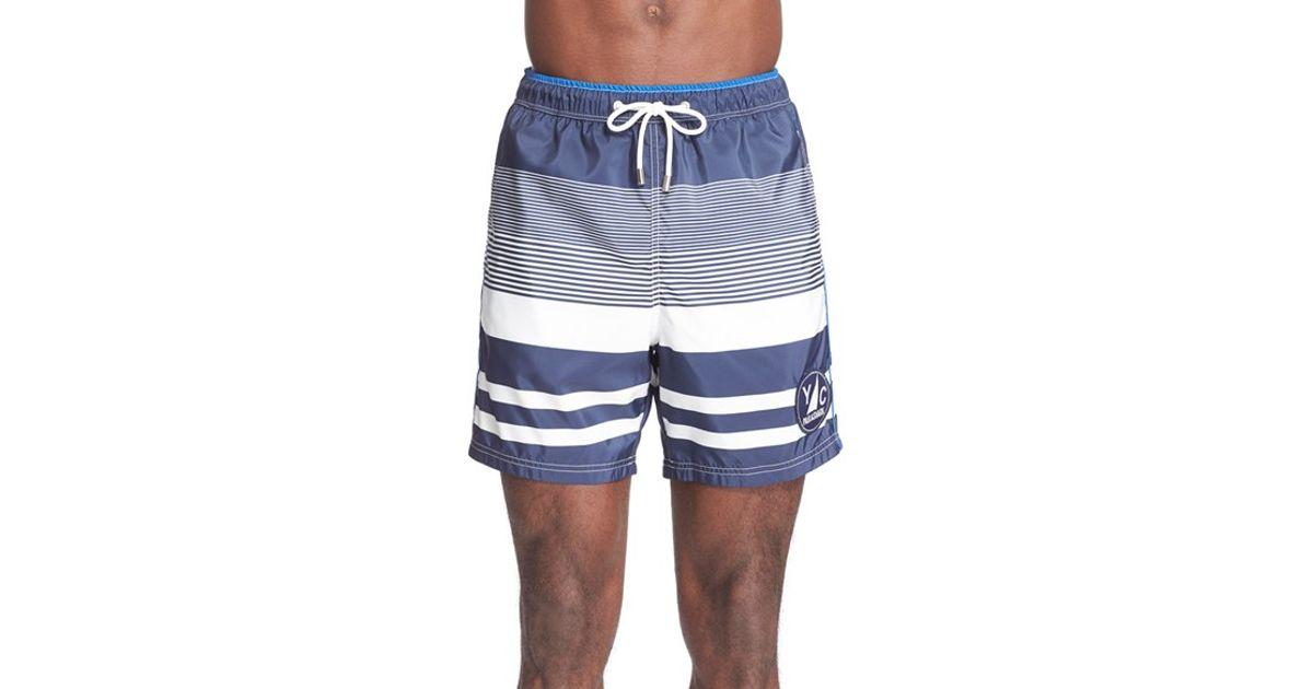 40094b27d3 Paul & Shark Stripe Swim Trunks in White for Men - Lyst