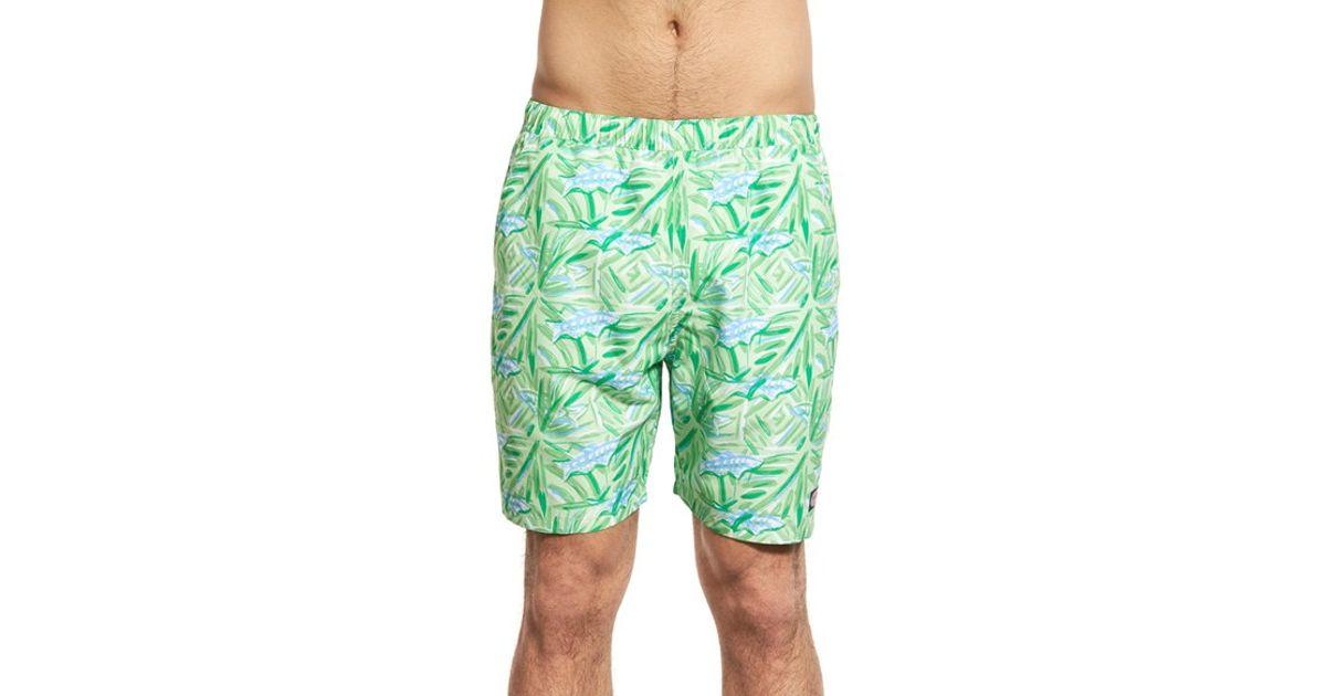 Vineyard vines 39 batik fish chappy 39 swim trunks in green for Fishing swim trunks