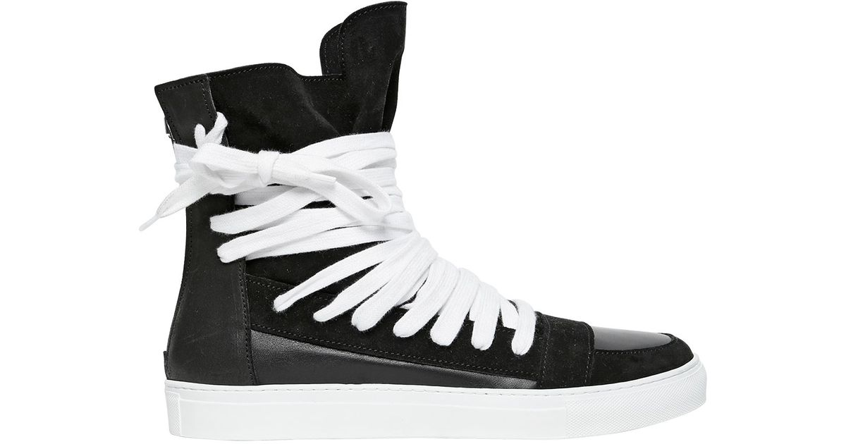 25c405aeec Lyst - Kris Van Assche Leather   Suede High Top Sneakers in Black for Men