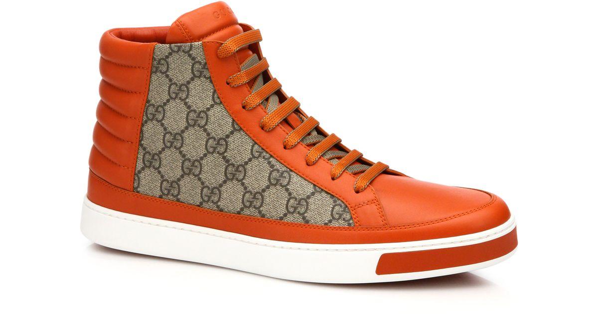 0e1f72004 Gucci Common Logo High-top Sneaker in Orange for Men - Lyst