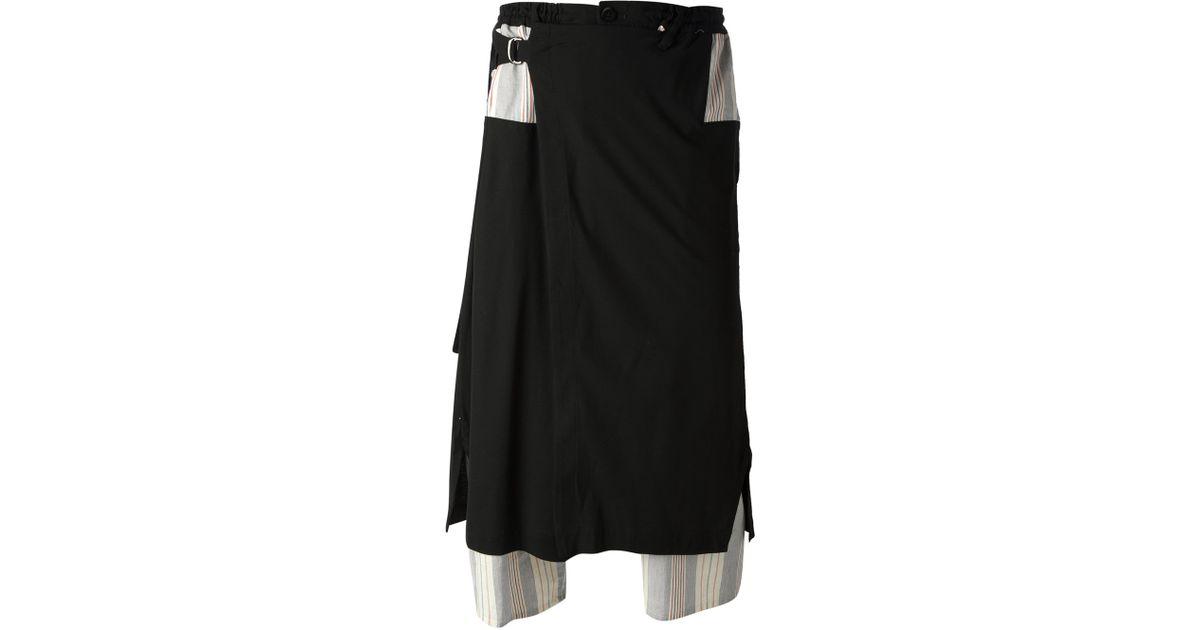 Lyst - Yohji yamamoto Striped Panel Track Shorts in Black for Men