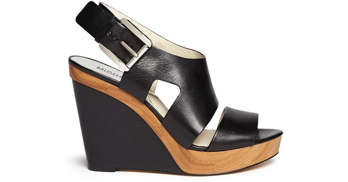 522f541a660 Lyst - MICHAEL Michael Kors  Carla  Leather Platform Wedge Sandals in Black