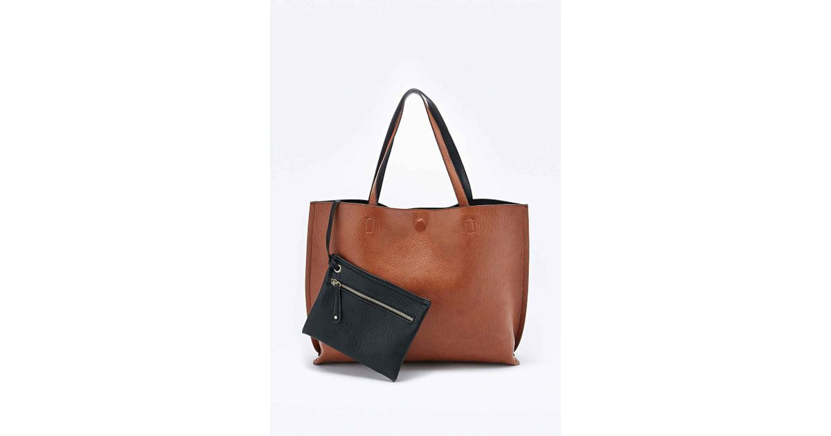 263c23bf42930 Urban Outfitters Reversible Vegan Leather Oversized Tote Bag in Brown - Lyst