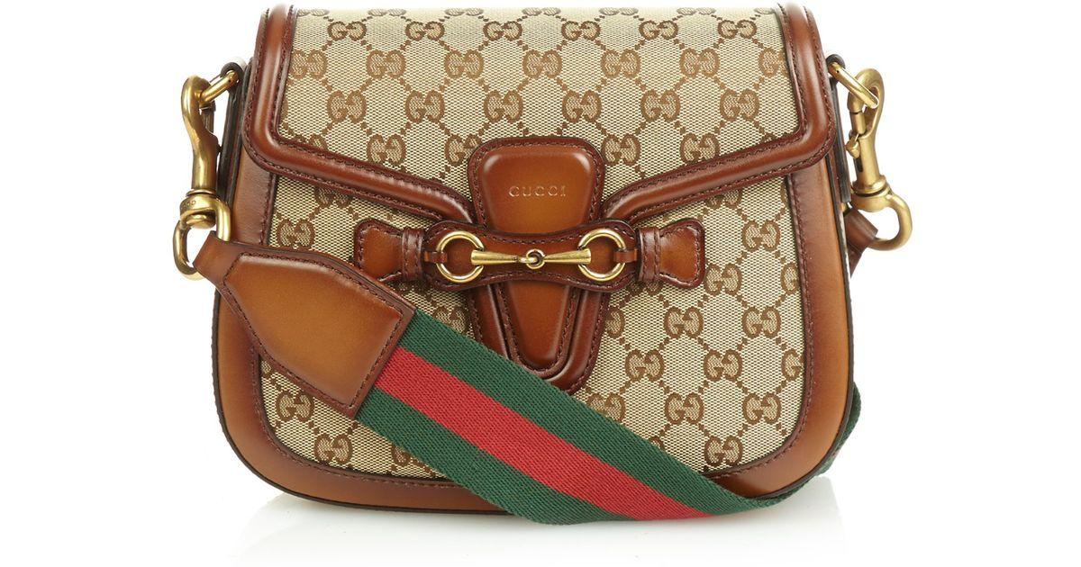 31d80d5d3af146 Gucci Lady Web Medium Shoulder Bag in Brown - Lyst