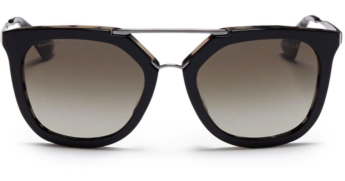 b4023ae49e55a Prada  luxottica  Double Bridge Angular Sunglasses in Black for Men - Lyst