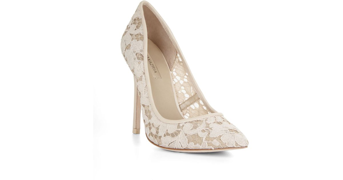 031ee616fe1 Lyst - BCBGMAXAZRIA Opia High-Heel Lace Pointed-Toe Pump in Natural