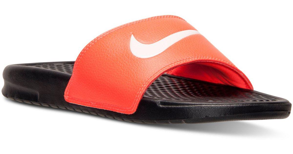 4488ad0c6 Lyst - Nike Men s Benassi Swoosh Slide Sandals From Finish Line in Red for  Men