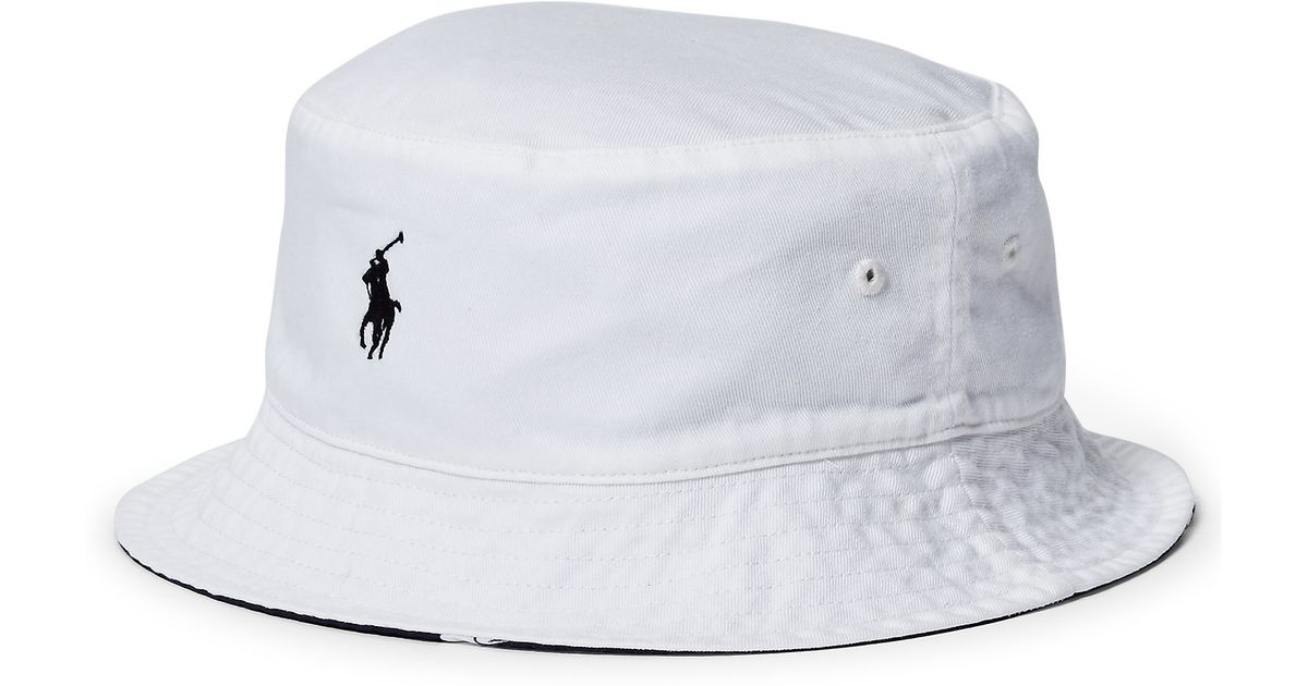 bfc6989be21 Lyst Polo Ralph Lauren Reversible Twill Bucket Hat In White For Men
