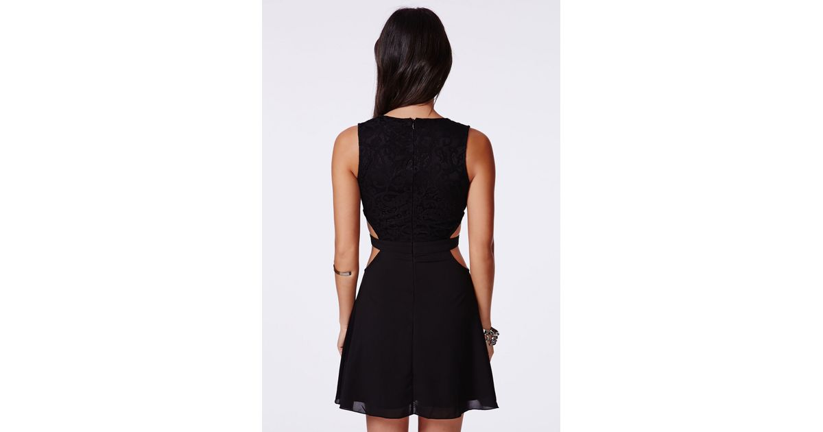 89fa7e60c2 Missguided Roksy Black Lace Plunge Cut Out Dress in Black - Lyst
