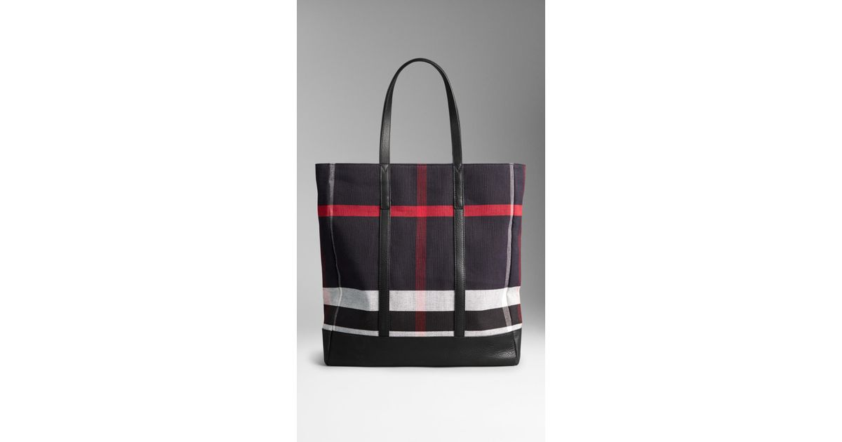 burberry small canvas check and leather tote bag in black for men lyst check small