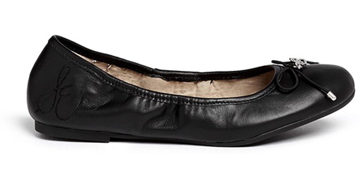 fce392e3b Lyst - Sam Edelman  felicia  Leather Junior Ballerina Flats in Black