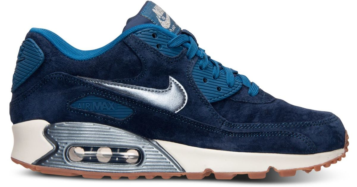 best sneakers 92026 b81a4 Nike Women s Air Max 90 Premium Suede Running Sneakers From Finish Line in  Blue - Lyst