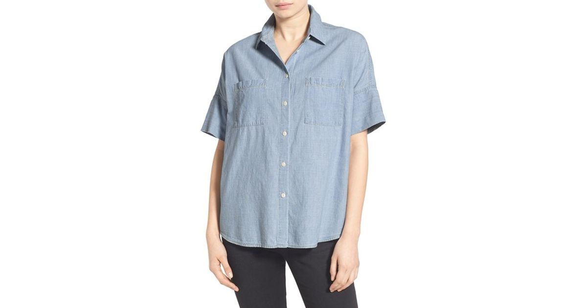 Madewell 39 courier 39 chambray short sleeve shirt in blue for Short sleeve chambray shirt women