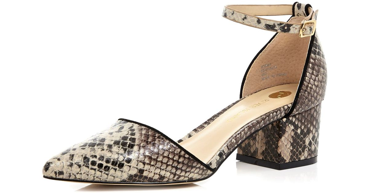 87d25b53e5 River Island Beige Snake Print Block Heel Shoes in Natural - Lyst
