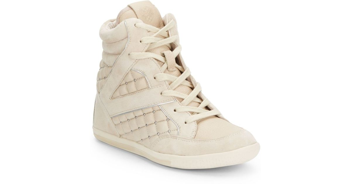 b4224991040b Lyst - Vince Camuto Follie Quilted Leather Wedge Sneakers in Natural