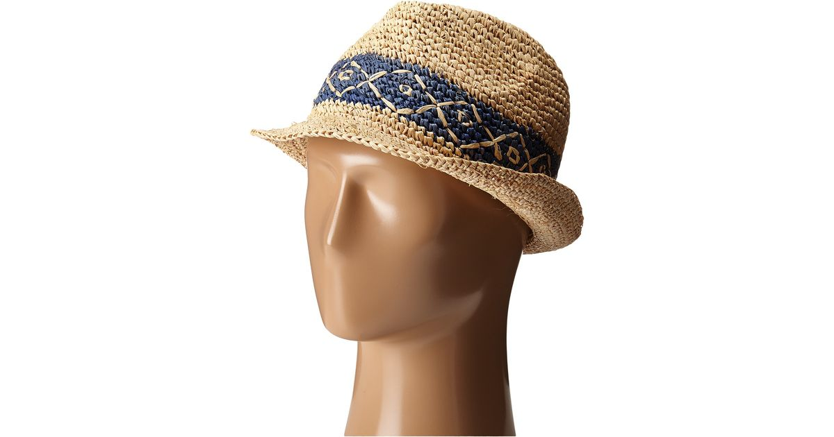 f5d932b3eaab84 Roxy Witching Straw Fedora Hat in Blue - Lyst
