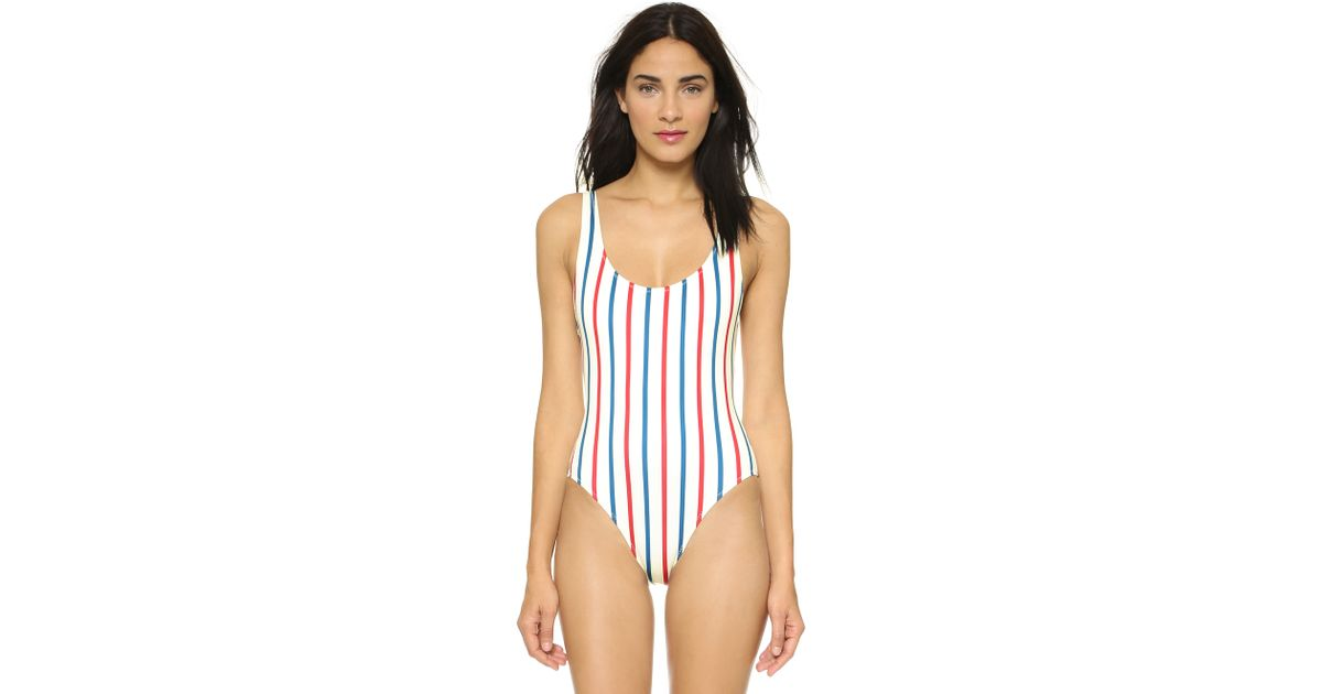 4b878bf7528 Solid & Striped The Anne-Marie One Piece Swimsuit - Red White Blue - Lyst