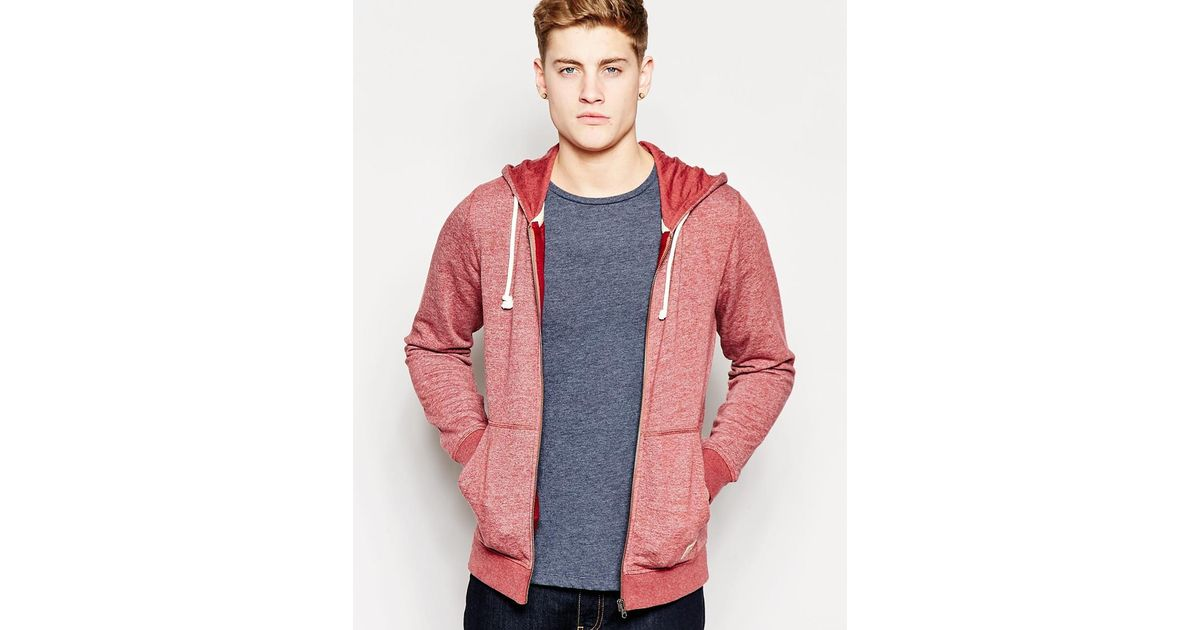 jack jones zip up hoodie in purple for men burgundy save 20. Black Bedroom Furniture Sets. Home Design Ideas