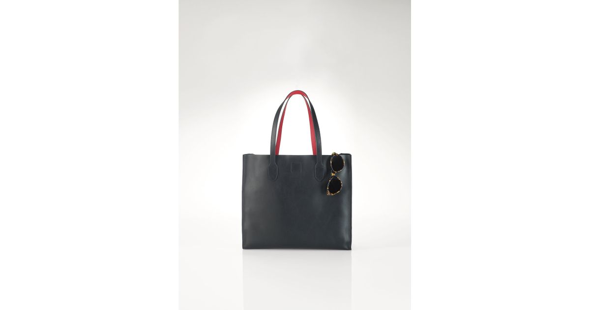af3387e1f0ee Lyst - Polo Ralph Lauren Smooth Leather Tote in Black
