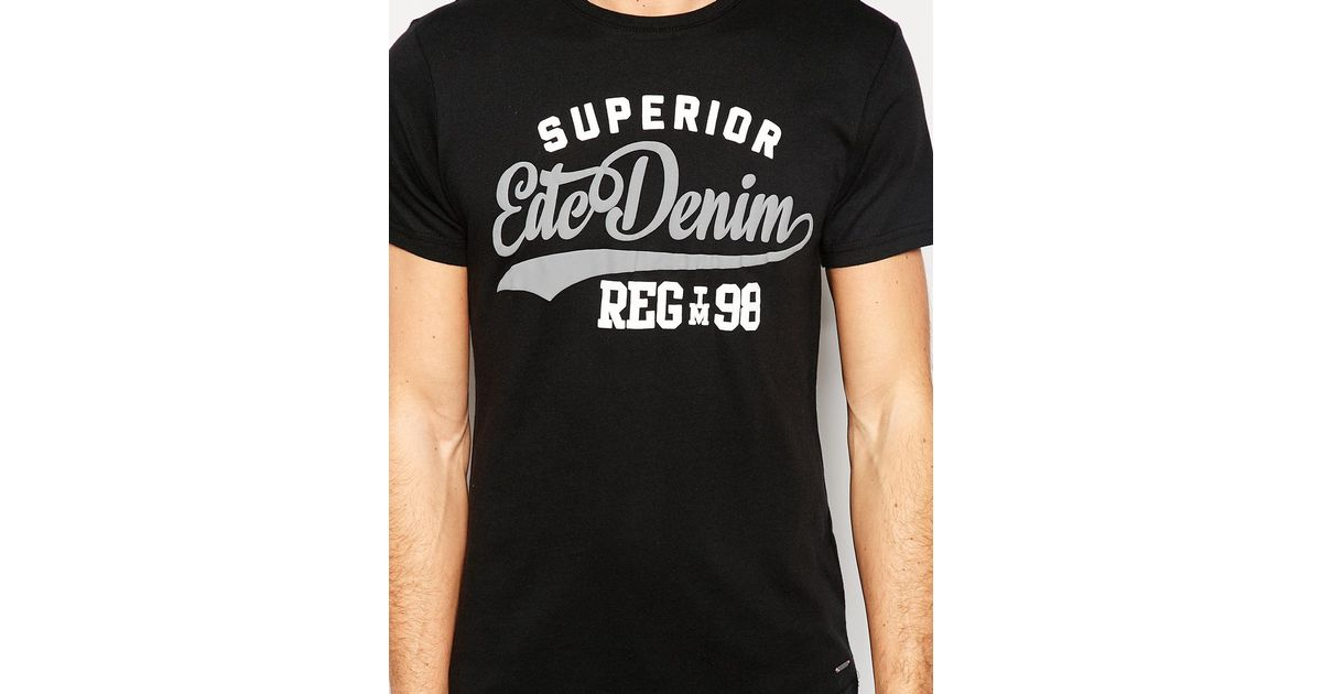 587005025fc8 Lyst - Esprit T-shirt With Edc Denim Print in Black for Men
