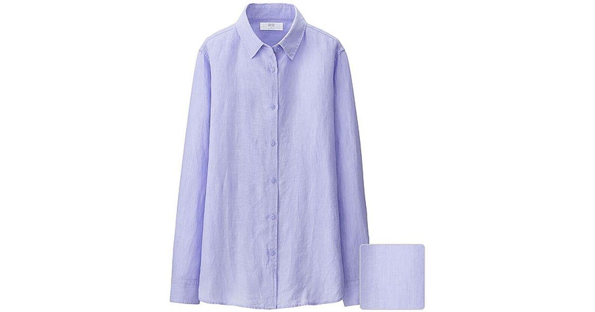 Uniqlo Women Premium Linen Long Sleeve Shirt In Purple Lyst