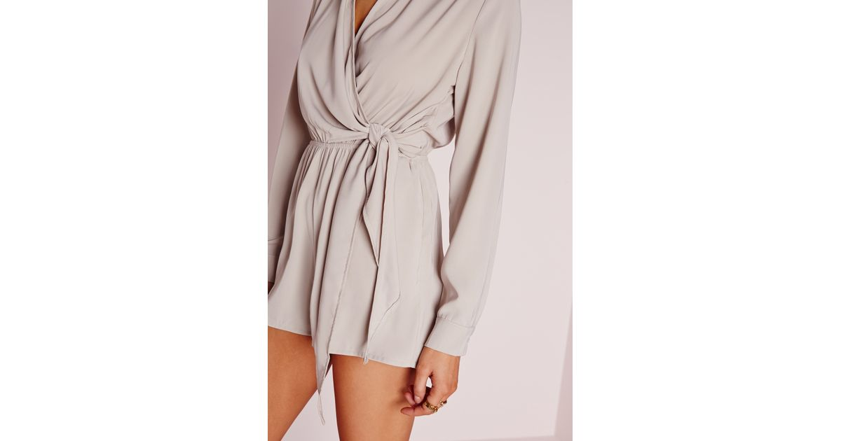 21e1877396 Missguided Wrap Front Shirt Playsuit Stone in Natural - Lyst