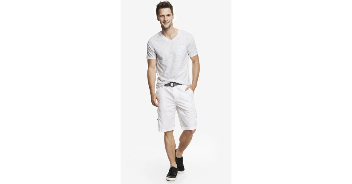 1cf1b5a267 Lyst - Express 10 Inch Belted Cargo Shorts in White for Men