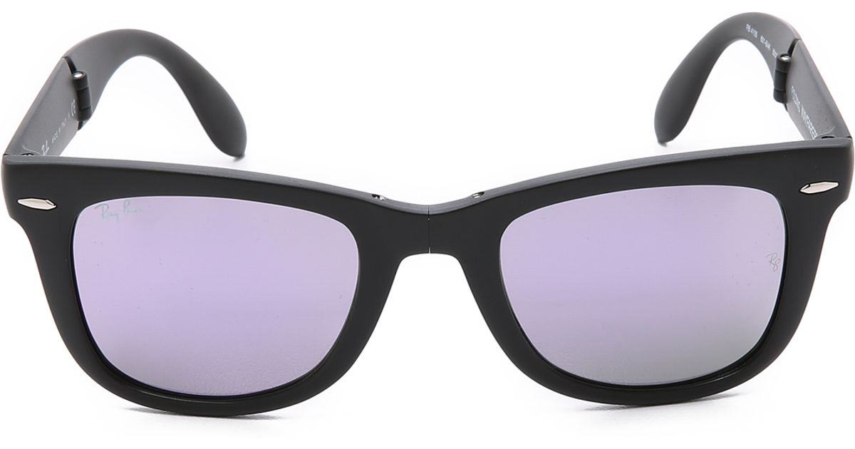 4ac80d0cf8 ... real ray ban folding wayfarer sunglasses with flash lens in black for men  lyst f9171 01404